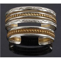 Navajo Sterling Silver & Brass His & Hers Cuffs