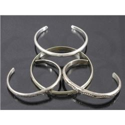 Navajo Native Sterling Silver Bracelets (4)