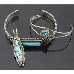 Signed Navajo Turquoise & Sterling Cuffs & Pendant