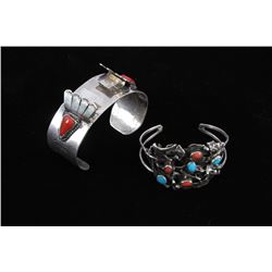 Two Sterling And Coral Navajo Cuff Bracelets