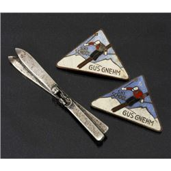 Antique Sterling Ski Brooch & Ski School Pins