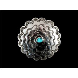 Navajo Stamped Sterling and Turquoise Brooch