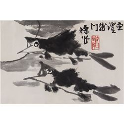 Li Kuchan 1899-1983 Chinese Ink on Paper Roll