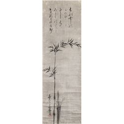 Okamoto Hansuke 1576-1657 Japan Ink Bamboo Scroll