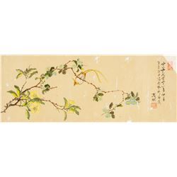 Ci Hang Chinese Watercolour Bird and Camellia