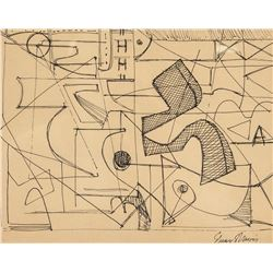 Stuart Davis 1892-1964 American Ink Abstract