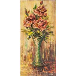 Imelda Fortin High Relief Oil on Board Flowers