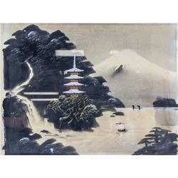 Japanese Watercolour Mountainous Landscape Framed