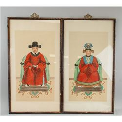 Pair Korean Watercolour Noble Couple Framed