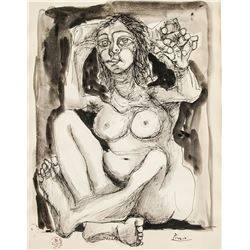 Pablo Picasso 1881-1973 Ink & Watercolour Nude