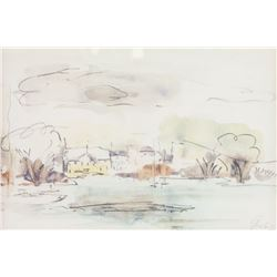 WC & Ink Dated '66 Lachine Coral Landscape Scene