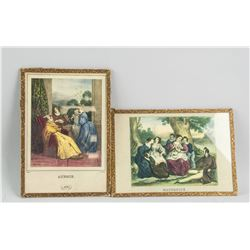 Two Prints of European Noble Ladies' Life Scene