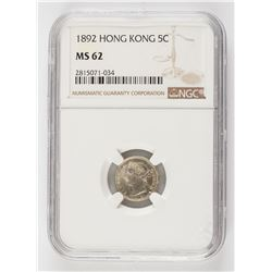 1892 Hong Kong 5 Cents Silver Coin NGC MS62 KM-5