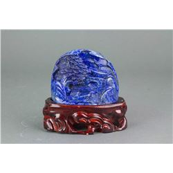 Chinese Lapis Carved Boulder with Stand