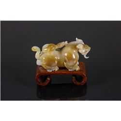 Chinese Fine Jade Carved Chilong w/ Stand