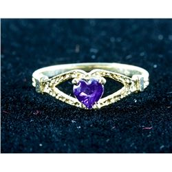 14k Gold Baby Heart Shaped Amethyst Ring