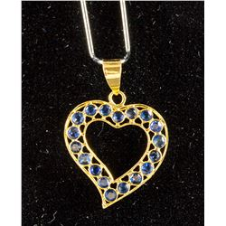0.89ct Heart Shaped Sapphire Pendant