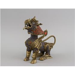 Chinese Bronze and Gemstone Kirin Statue
