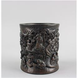 Chinese Rose Wood Carved Brush Pot