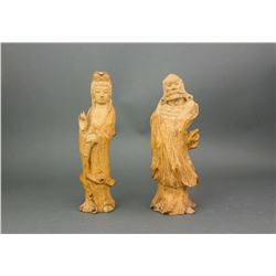 Chinese Wood Caved Guanyin and Bodhidharma