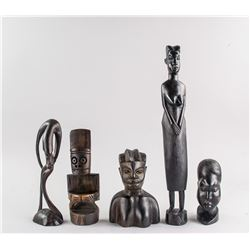 5 Assorted Tanzania Ebony Wood Carved Figures