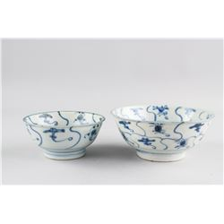 16/17th Century China Minyao B&W Porcelain Bowls