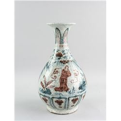 China Yuan/Ming Style BW Copper Red Porcelain Vase