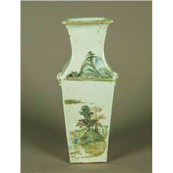 Chinese 19th Famille Rose Square Porcelain Vase