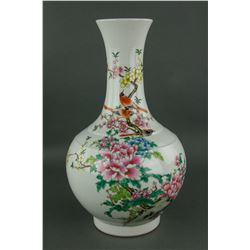 Chinese Famille Rose Bird & Flower Porcelain Vase