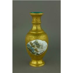 Gilt Famille Rose Porcelain Vase Qianlong Mark