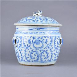 Chinese Blue & White Ginger Jar Jian Ding Seal