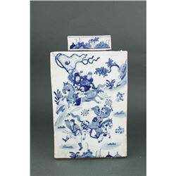 Chinese BW Square Porcelain Jar w/Cover Kangxi MK