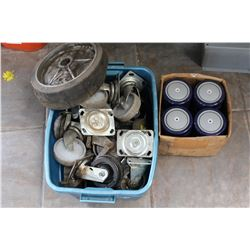 LOT OF VARIOUS CASTOR WHEELS AND WELDING STOOL