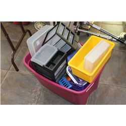 TOTE OF ORGANIZERS AND TRAYS