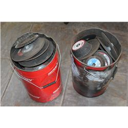 TWO PAILS OF GRINDING WHEELS AND DISCS