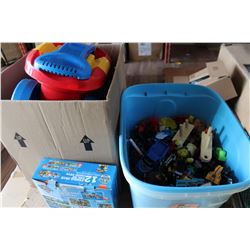 TOTE AND BOX OF KIDS TOYS