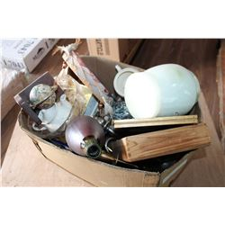 BOX OF METAL WARE DRUM AND MARBLE BASE