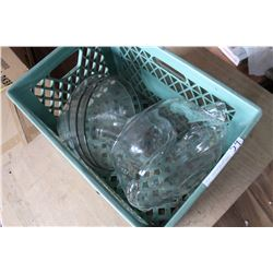 GREEN CRATE OF CLEAR LARGE BOWLS