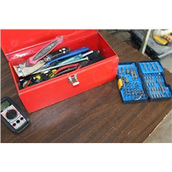 RED TOOLBOX ELECTRICAL METER AND TOOLS