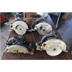 LOT OF BLACK AND DECKER CIRCULAR SAWS AND BLADES