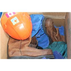 LARGE BOX OF COVERALLS BOOTS AND HARDHAT