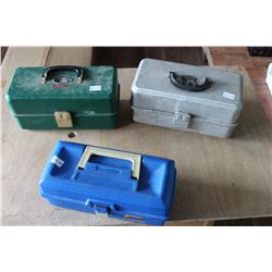 THREE TACKLE BOXES WITH CONTENTS