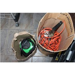 BOX OF EXTENSION CORDS AND SPRAYER