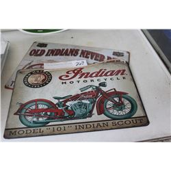 2 INDIAN MOTORCYCLE TIN SIGNS