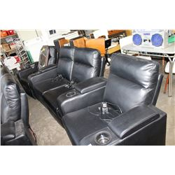 NEW 4 SEAT ELECTRIC RECLINING BLACK LEATHER THEATRE SOFA