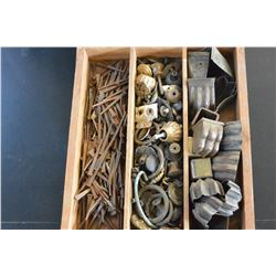 TRAY WITH HAND FORGED NAILS AND VINTAGE HARDWARE