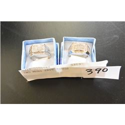 TWO MENS PAVE RINGS