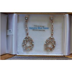 STERLING SILVER ROSE GOLD PLATED GENUINE TOPAZ AND CUBIC ZIRCONIA DANGLE EARRINGS WITH APPRAISELS $1