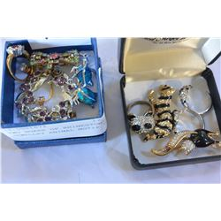TWO BOXES OF RHINESTONE JEWELLRY ANIMAL MOTIF ETC