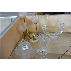 LOT OF CRYSTAL SERVING PIECES AND CANDLESTICKS